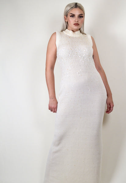 90s Eggshell Sequined Knit Maxi Dress