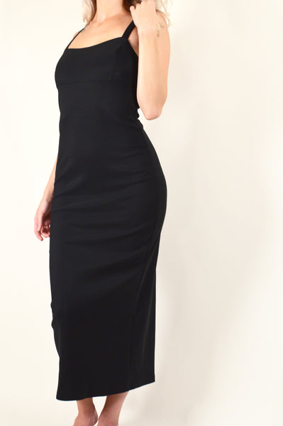90s Black Cutout Cage Maxi Dress