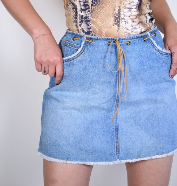 y2k Light Wash Denim Skirt
