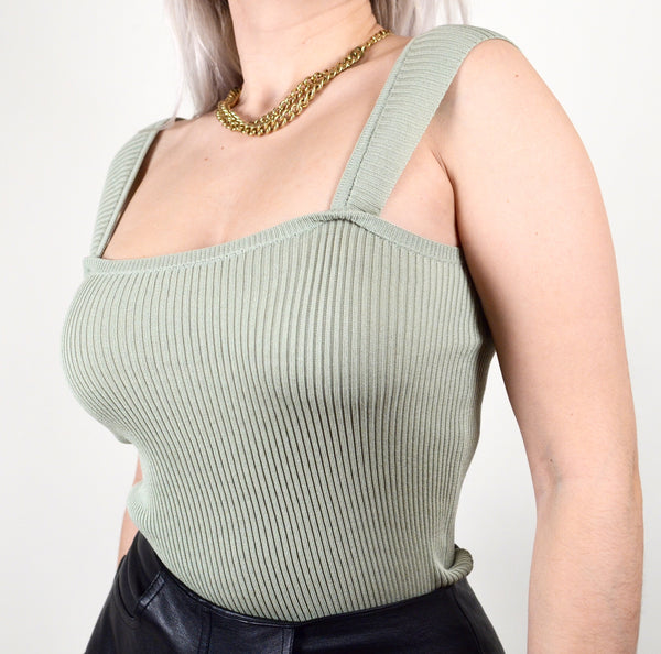 Sage Green Ribbed Tank