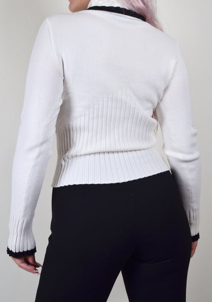 White & Black Half Ribbed Sweater