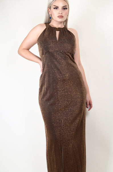 Sparkly Brown Vintage Gown