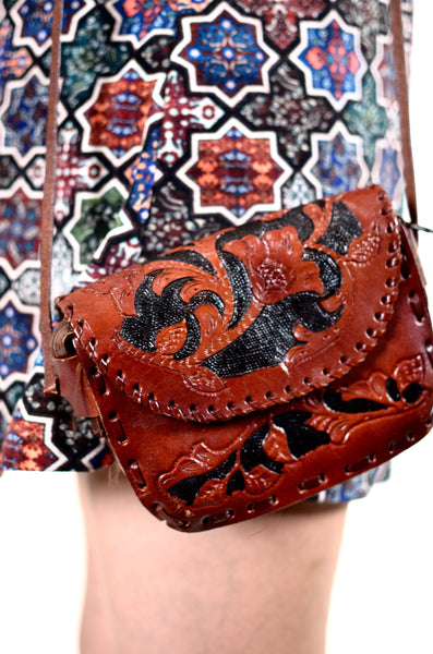 Carved Wood Style Leather Shoulder Bag