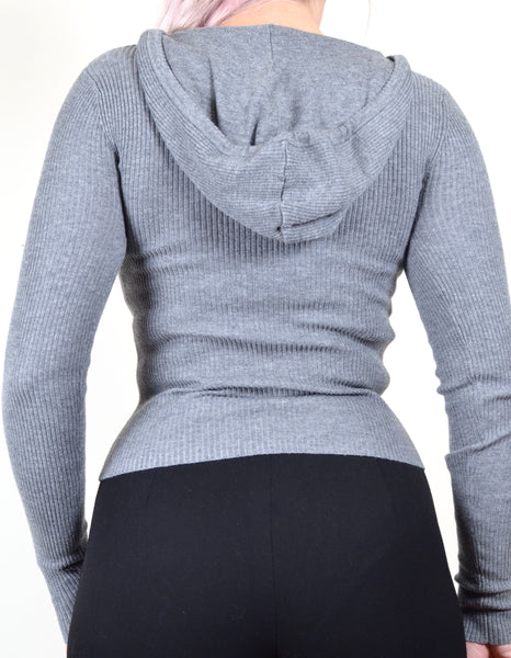 Gray Ribbed Sequin Sweater