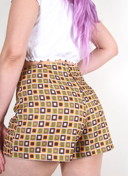 60s Style Vintage Printed Mod Shorts