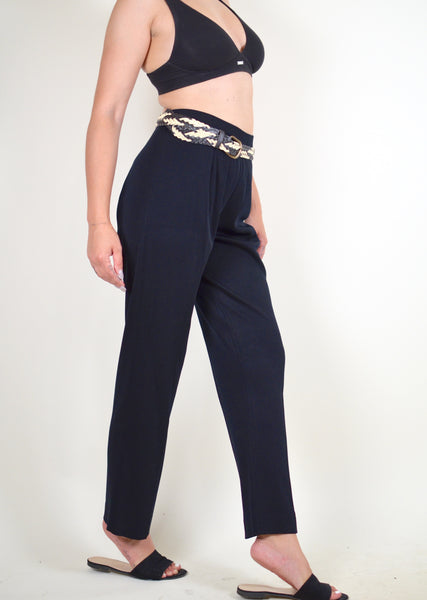 90s High Waisted Ribbed Pants