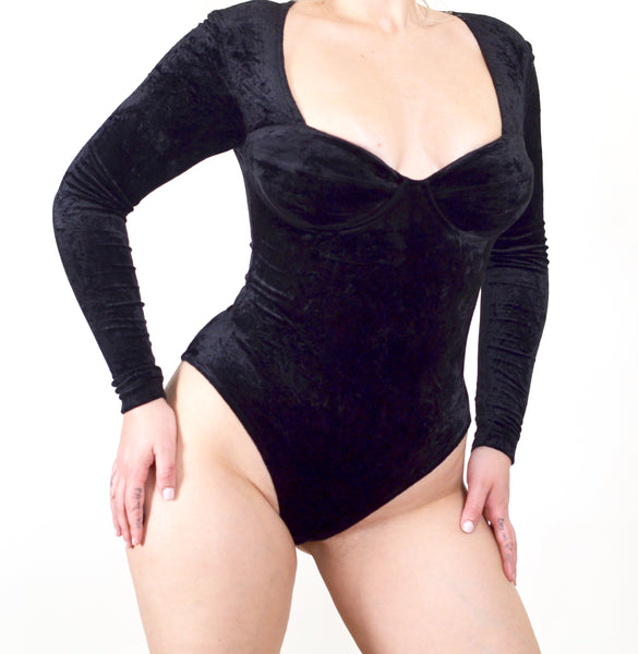 Vintage Black Velvet Tape Measure Bodysuit