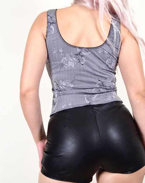 Gray and Black Vintage Corset Like Top