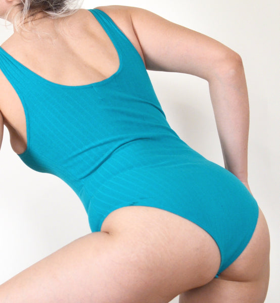 90s Workout Ribbed Teal Bodysuit