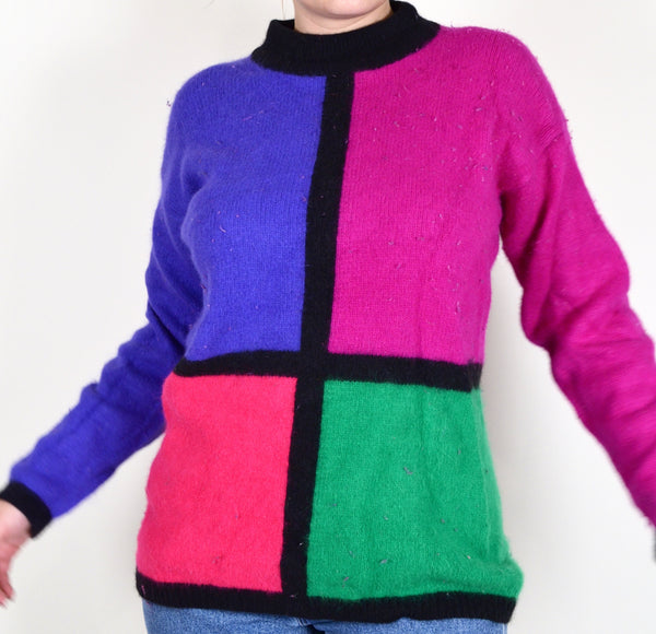 80s Style Color-block Sweater