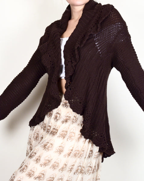 90s Brown Boho Knit Cardigan