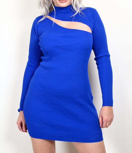 Y2K Does 60s Mod Blue Ribbed Cut Out Dress