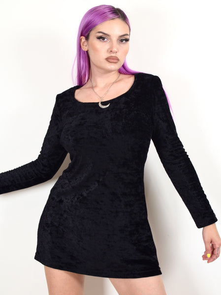 90s The Craft Style Black Velvet Dress