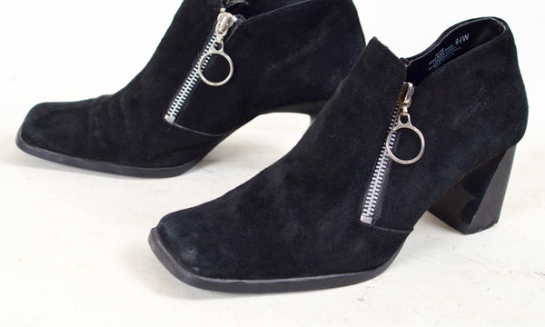 60s Style Black Suede Shoes