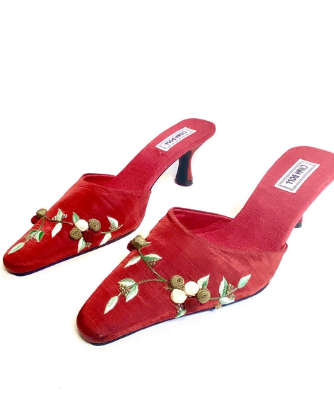 90s Floral Embroidered Vintage Mule Sandals