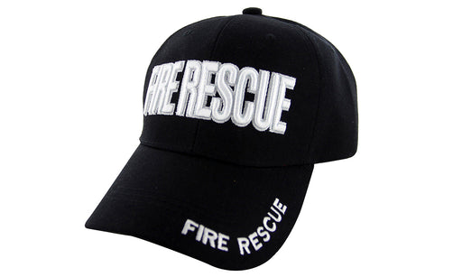FIRE RESCUE Ball Caps 3D Embrodiery Black - White