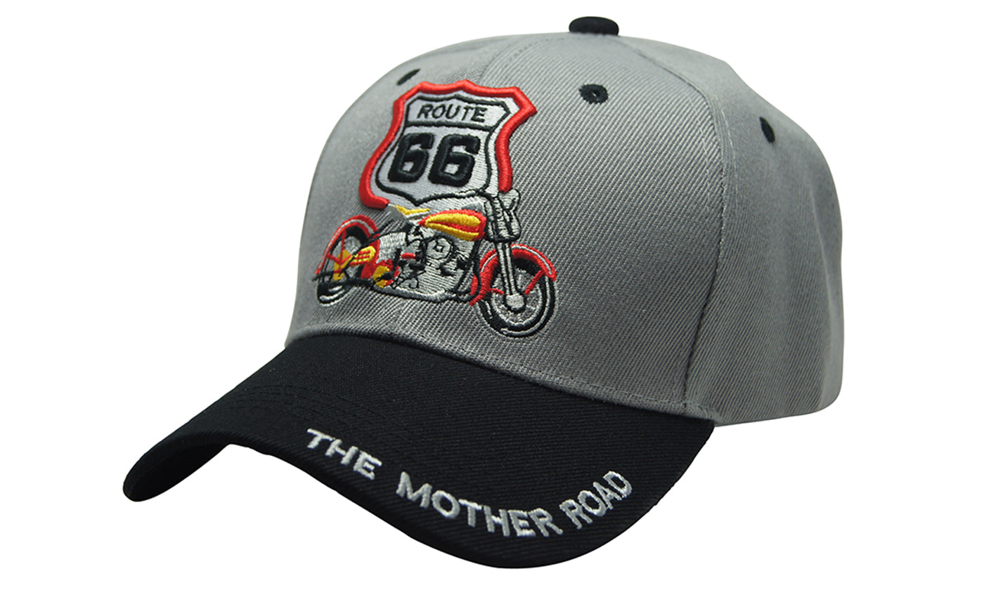 MOTORCYCLE ROUTE 66 3D MAP Embroidery Ball Caps