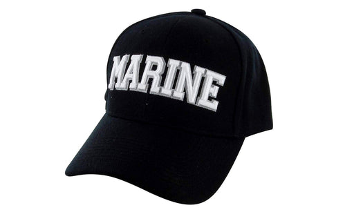 MARINE Ball Caps 3D Embrodiery Black - White
