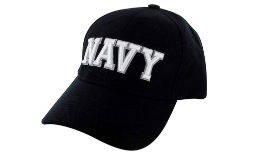 NAVY Ball Caps 3D Embrodiery Black - White
