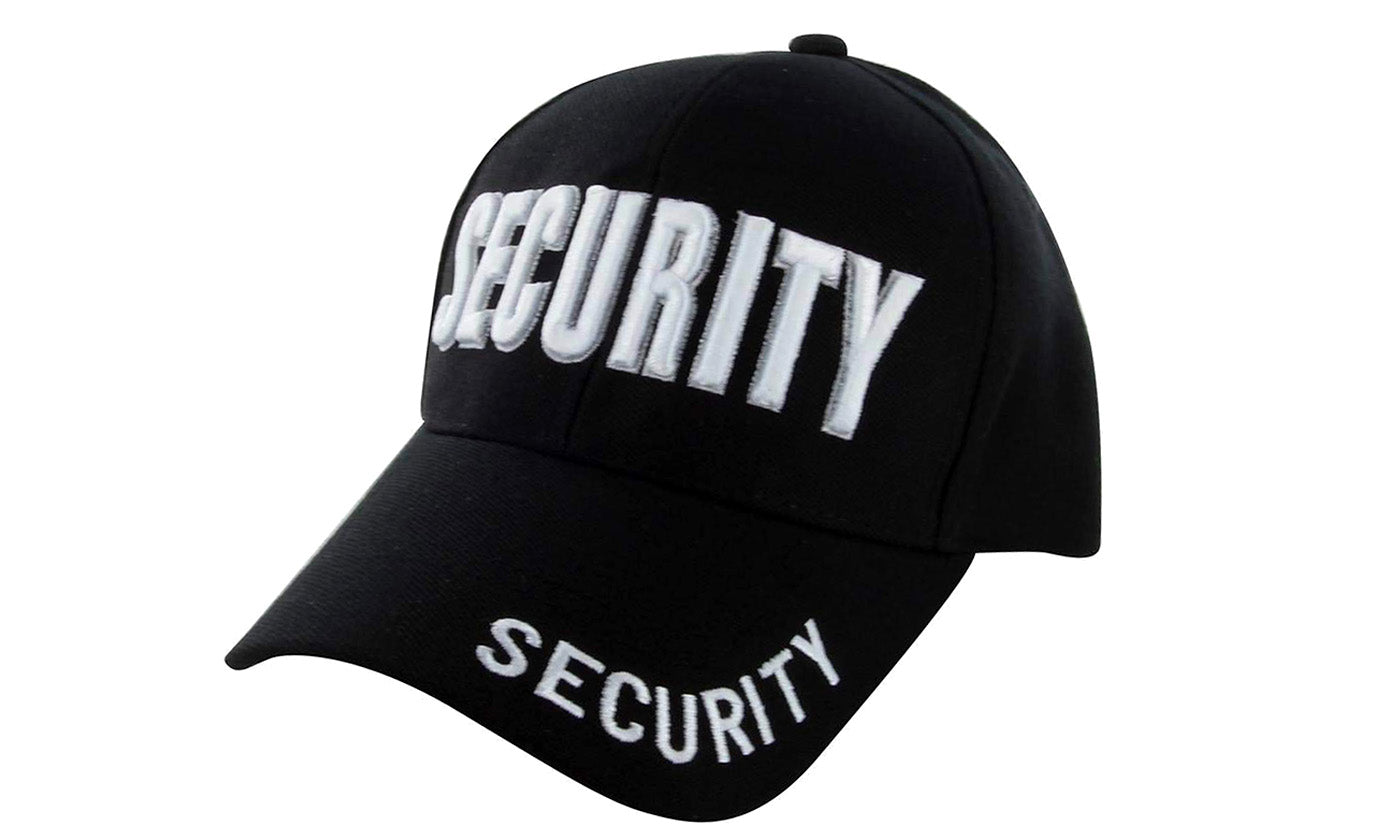SECURITY Ball Caps 3D Embrodiery Black-White