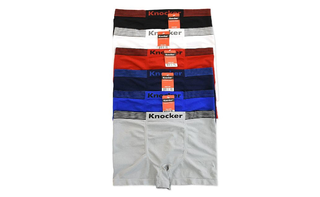 Knocker's Men Athletic Seamless Boxer Briefs (6 Pack) 4STRIPES