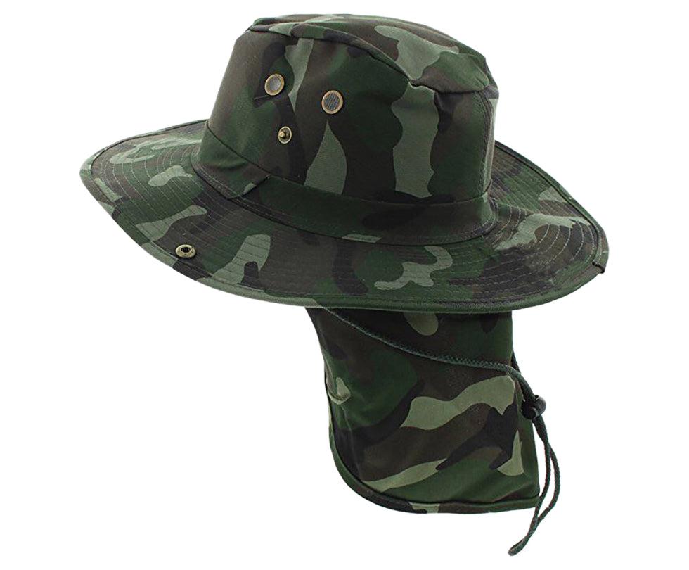 Boonie Bush Outdoor Fishing Hiking Hunting Boating Snap Brim with Flap CAMO FOREST