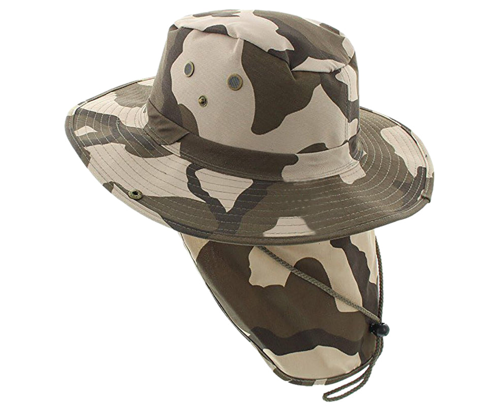 Boonie Bush Outdoor Fishing Hiking Hunting Boating Snap Brim with Flap CAMO CAMEL