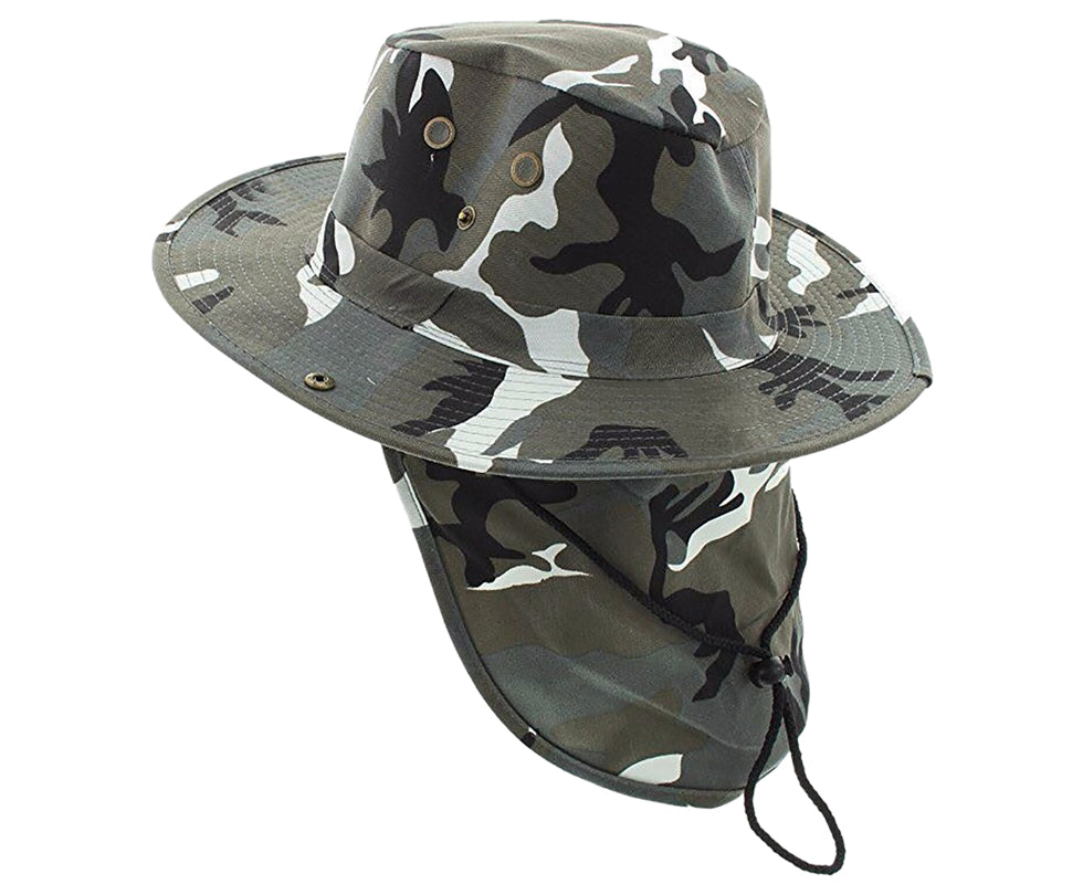 Boonie Bush Outdoor Fishing Hiking Hunting Boating Snap Brim with Flap CAMO DESERT