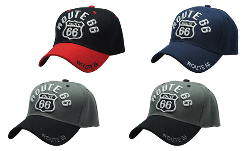 ROUTE 66 3D Embroidery Ball Caps