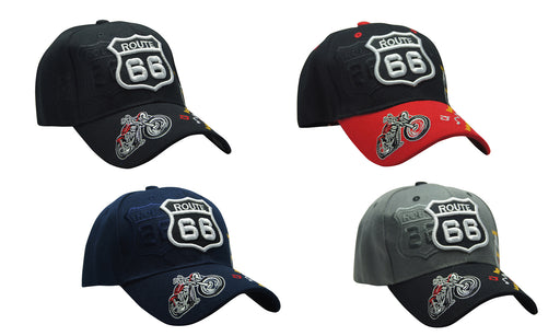 MOTORBIKE Famous Route 66 3D Embroidery Ball cap