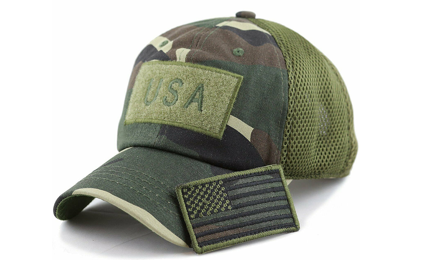 USA American Flag Hat Detachable Patch Cotton Baseball Mesh Military Army Cap