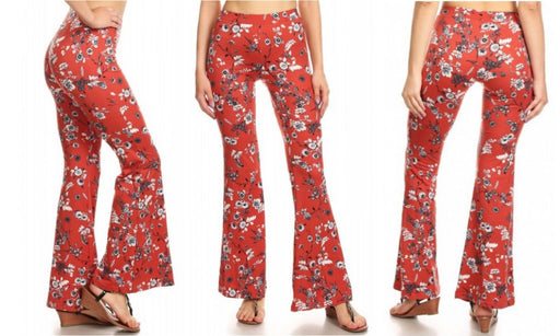 Red Color Women's Yoga Pant Blanca Brick Color Floral Print