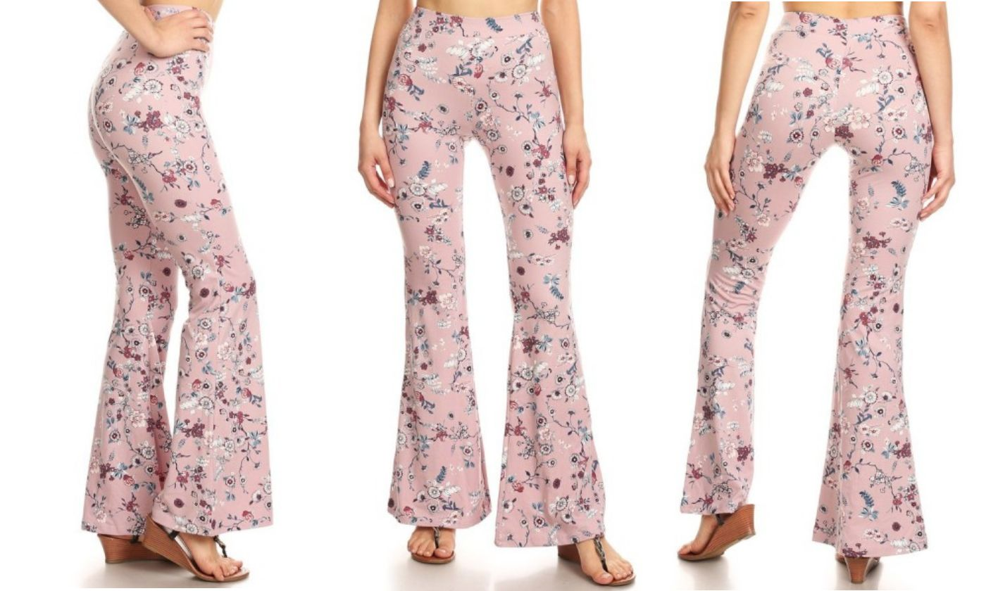 Yoga Pants for Women Blanca Basics Pink Floral Flare