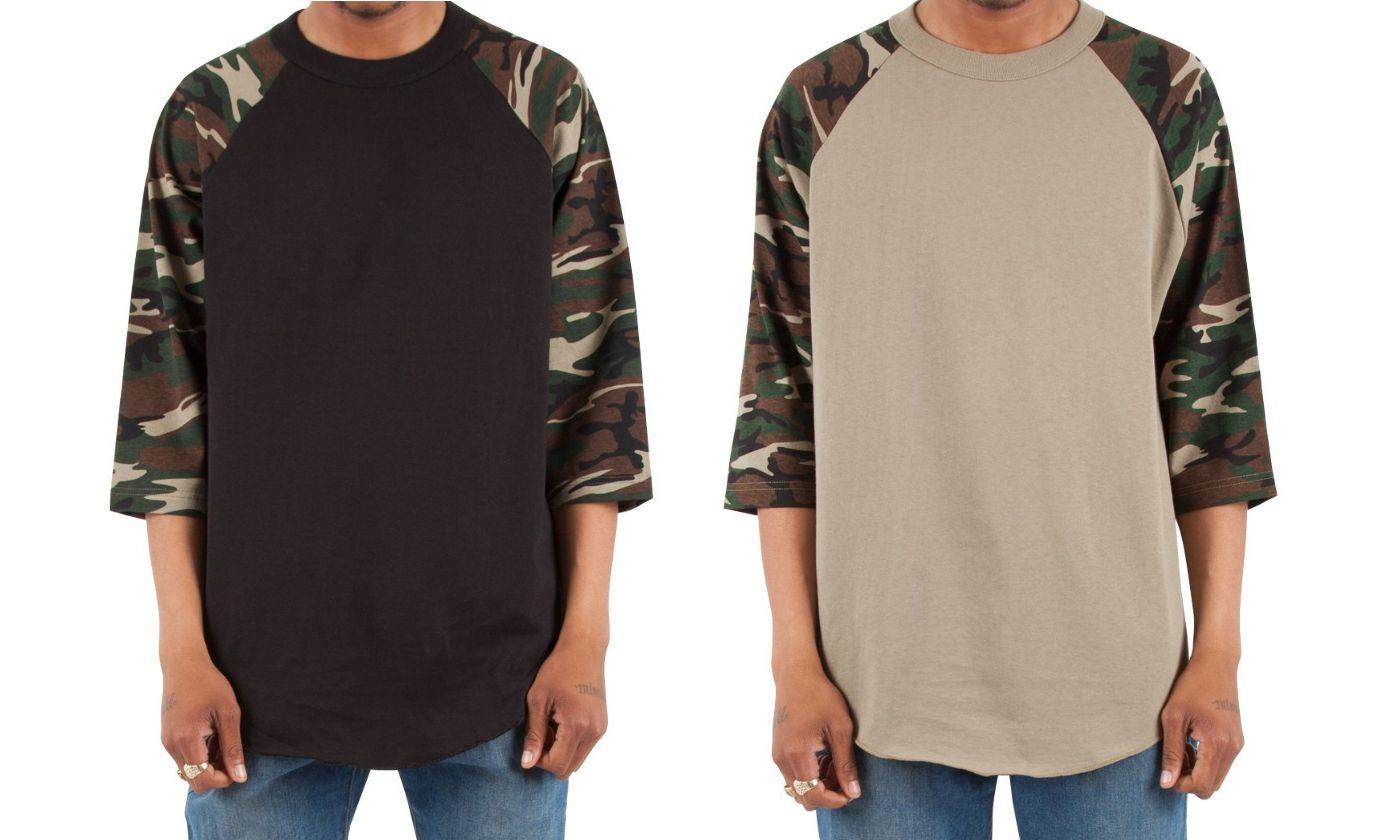 Men's Camo Crew Neck Cotton 3/4 Sleeve Raglan Baseball Tee Shirts (2 Pack)