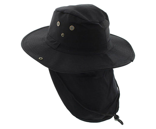 Boonie Bush Outdoor Fishing Hiking Hunting Boating Snap Brim with Flap BLACK