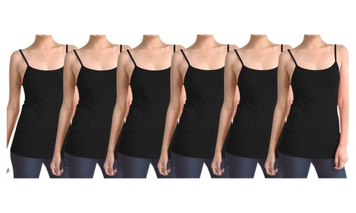 All Black Women's Slimming Camisoles with Adjustable Straps (6-Pack)