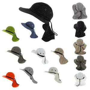 Outdoor Fishing Camping Hunting Boonie Snap Brim Cap Ear Neck Cover Sun Flap