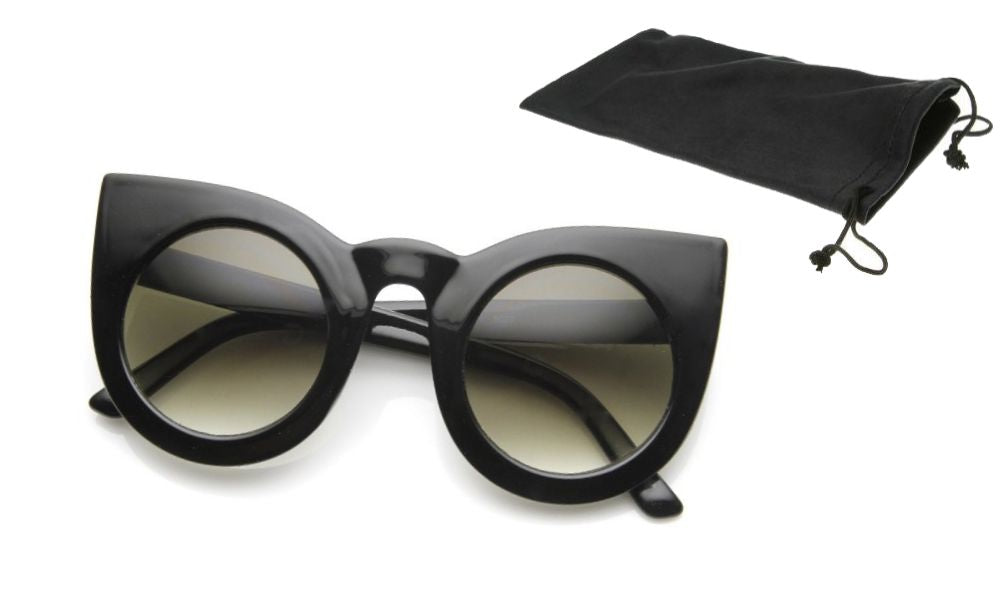 Blanca Bold Oversize Round Pointed Cat Eye Sunglasses