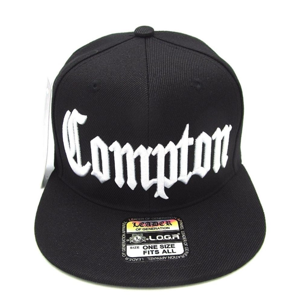 Classic Compton Hat Adjustable Cap. Flat Bill Style Snapback Adjustable Fit