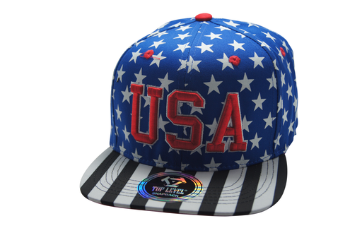 Flat Bill USA Flag 3D Embroidery Colored