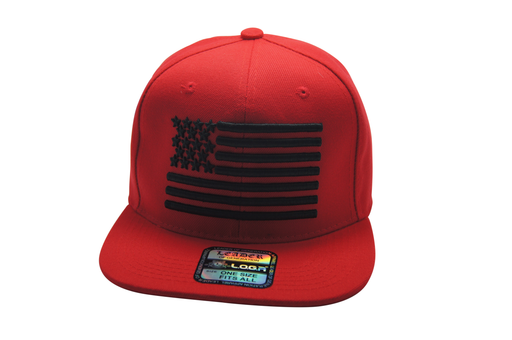 Flat Bill USA 3D Embroidery Red