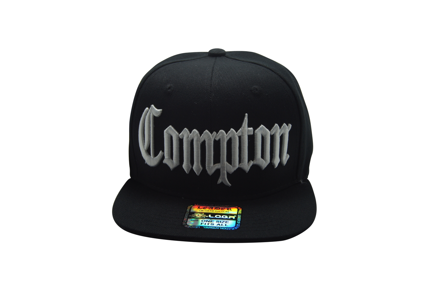 Flat Bill Compton 3D Embroidery Black