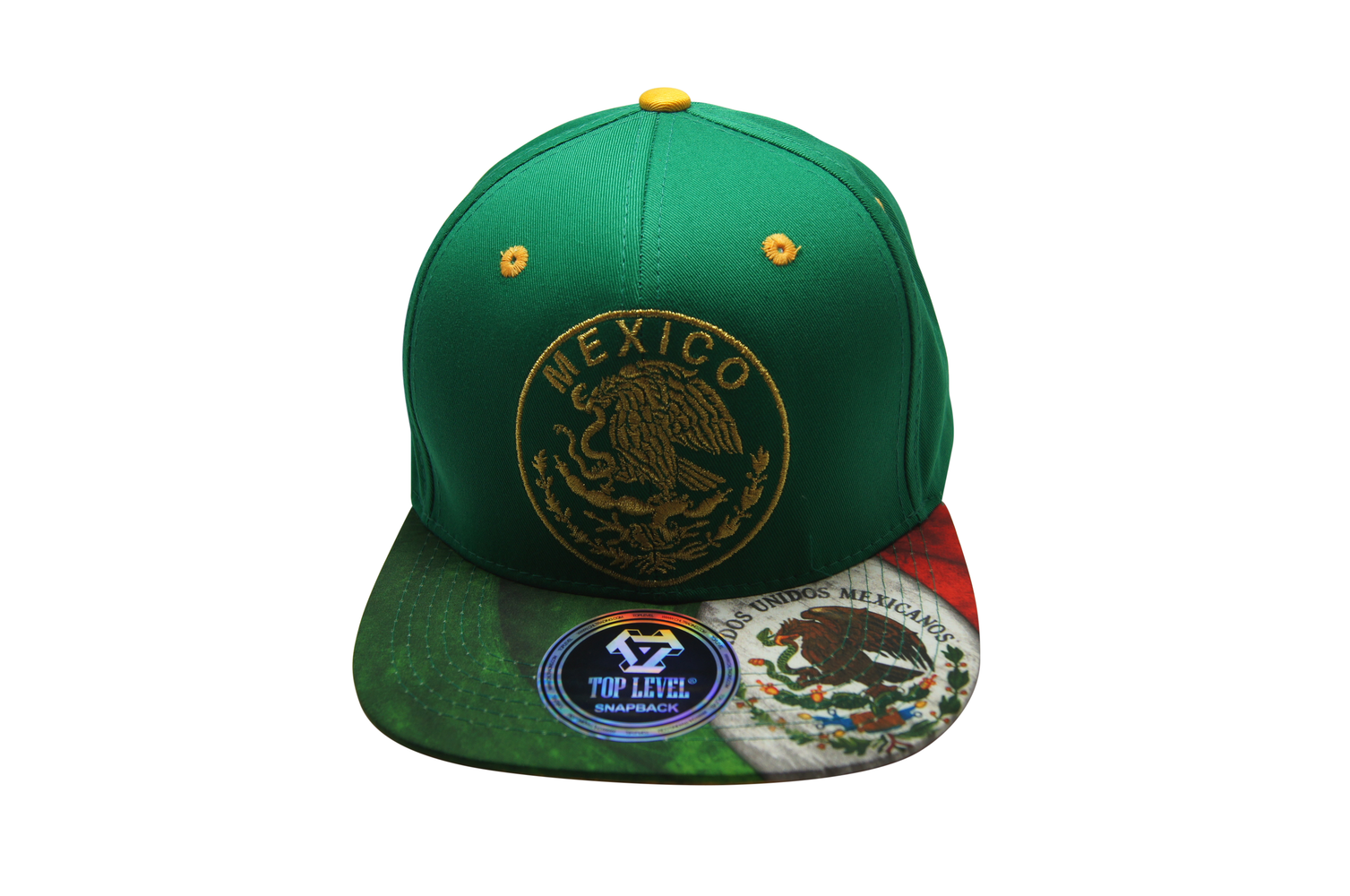 Flat Bill Mexico 3D Embroidery Green - Green Bill