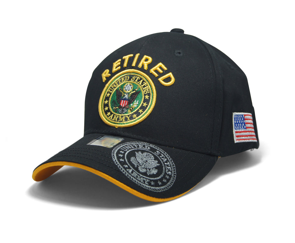 9b646638c20429 Official Licensed Military RETIRED U.S.ARMY Cap/Hat Embroidered Black/Gold