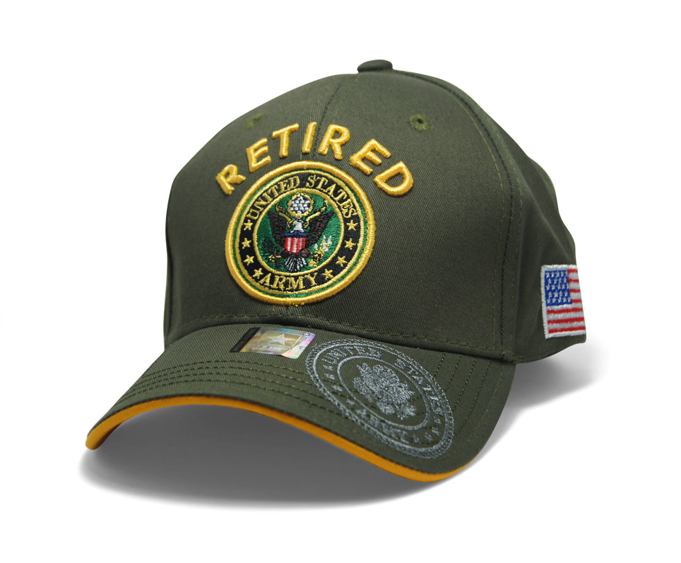 972c28bf6e53e0 Official Licensed Military RETIRED U.S.ARMY Cap/Hat Embroidered Olive/Gold
