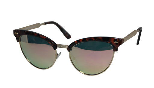 6243791c9bdf Blanca Retro Half Frame Metal Horned Rim Mirrored Frame Cat Eye Sunglasses  7090
