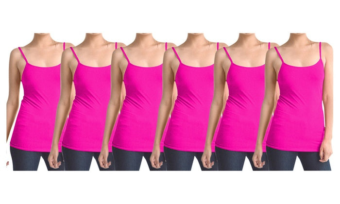 Hot Pink Women's Slimming Camisoles with Adjustable Straps (6-Pack)