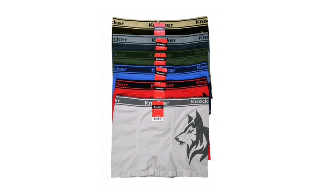 Knocker's Men Athletic Seamless Boxer Briefs (6 Pack) ALASKAN HUSKY