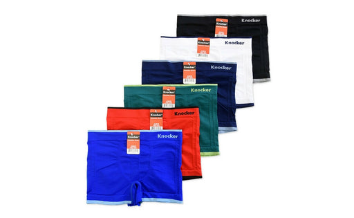 Knocker's Junior's Athletic Seamless Compression Boxer Briefs (6 Pack) SOLIDS