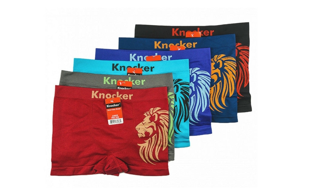 Knocker's Junior's Athletic Seamless Compression Boxer Briefs (6 Pack) LION